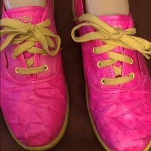 BOBS Skechers Pink Crinkle Yellow Trim Sneakers 8